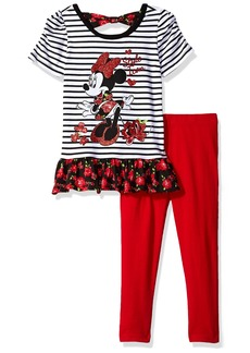 Disney Little Girls' 2 Piece Short Sleeve Minnie Mouse Legging Set