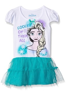 Disney Little Girls' Elsa Frozen Glittered Screen Printed Tunic