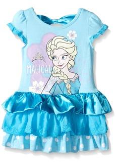 Disney Little Girls' Magical Elsa Eyelet And Satin Dress