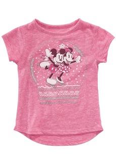 Disney Little Girls Mickey & Minnie Mouse Snow Globe T-Shirt
