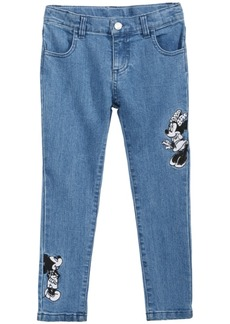 Disney Little Girls Minnie & Mickey Mouse Embroidered Jeans