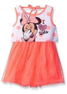 Disney Little Girls Minnie I Love Dots Jersey Dress with Glittered Tulle   Little