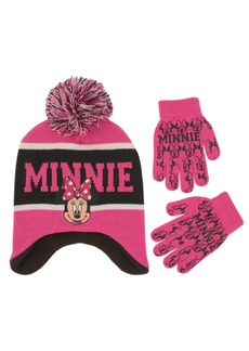 Disney Little Girls Minnie Mouse Contoured Winter Hat and Glove Set pink black One Size