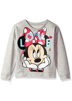 Disney Girls' Little Minnie Mouse French Terry Pom Pullover  6X