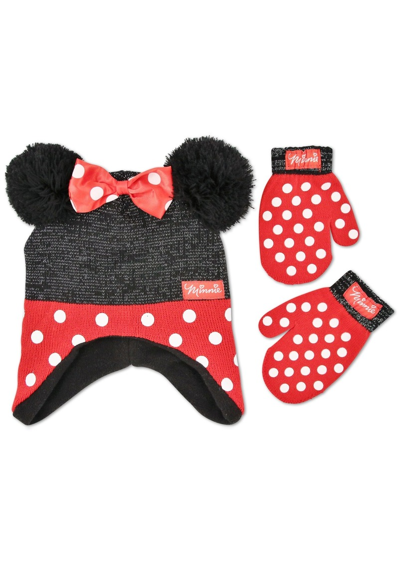 e1405588f89 Little Girls Minnie Mouse Polka Dots Acrylic Knit Winter Hat with Large  Yarn Poms and 3D Polka Dot Bow with Matching Mitten Set  Black. Disney