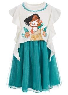 Disney Little Girls Moana Ruffle-Sleeve Dress