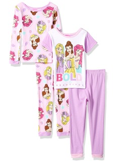 Disney Little Girls' Multi-Princess 4-Piece Cotton Pajama Set