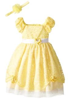 Disney Little Girls' Princess Belle Dress with Matching Headband