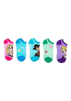 Disney Little Girls' Tangled 5 Pack No Show Socks