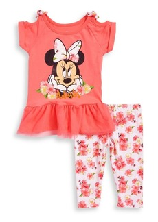 Disney Minnie Mouse Little Girl's Two-Piece Minnie Mouse Printed Top and Leggings Set