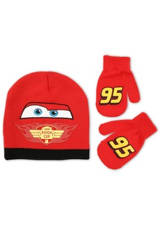 Disney Toddler Boys Cars Lightning Mcqueen Beanie and Mitten Set red