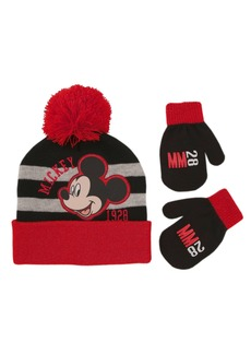 4b1178bc187 Disney Disney Toddler Boys Mickey Mouse Beanie Hat and Gloves Set black red  grey