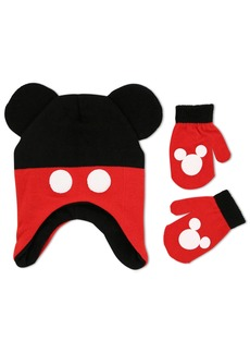 Disney Toddler Boys Mickey Mouse Clubhouse Hoisery Acrylic Knit Contoured Short Winter Hat With Knit Pom Ears and Matching Mitten Set