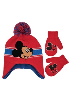 Disney Toddler Boys Mickey Mouse Pom Hat and Mittens Set