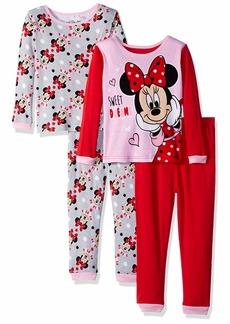 Disney Girls' Toddler Minnie Mouse 4-Piece Cotton Pajama Set