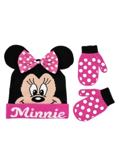 Disney Toddler Girls Minnie Mouse Bowtique Beanie Hat and Mitten Set black pink One Size