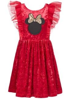 Disney Little Girls Minnie Mouse Crushed Velvet Dress