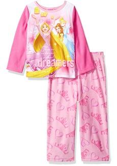 Disney Girls' Toddler Multi-Princess 2-Piece Fleece Pajama Set