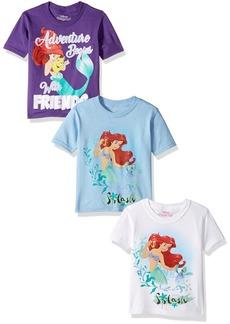 Disney Toddler Girls' The Little Mermaid Ariel 3-Pack Short Sleeve T-Shirt White/Blue/Purple