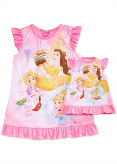 Disney's Princesses Belle, Rapunzel & Cinderella Nightgown with Doll Nightgown, Toddler Girls