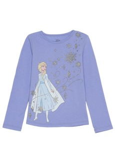 Disney Little Girls Elsa Snowflake Long Sleeve Tee