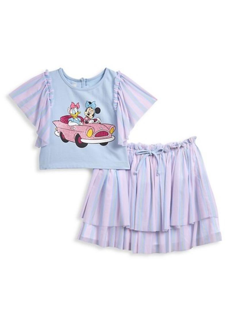 Disney Little Girl's Minnie & Daisy 2-Piece Top & Skirt Set