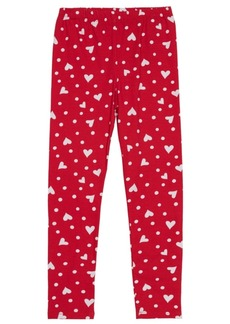 Disney Little Girls Full Length Legging with Allover Hearts and Dot Graphic Print