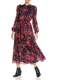 Divine Heritage Floral Print Long Sleeve Maxi Dress