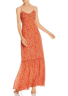 Divine Heritage Gathered Floral-Print Maxi Dress