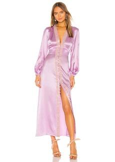 Divine Heritage Lace Trim V Neck Dress