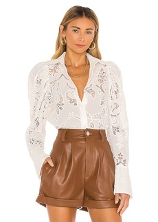 Divine Heritage Pleated Sleeve Button Up Blouse