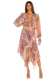 Divine Heritage Ruffle Front Midi Dress