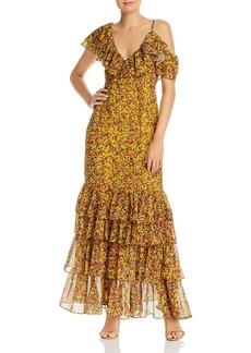 Divine Heritage Ruffled Cold-Shoulder Floral Maxi Dress