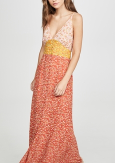 Divine Heritage Sleeveless Colorblock Maxi Dress