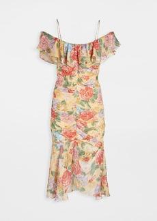 Divine Heritage Spaghetti Strap Ruffle Cold Shoulder Dress