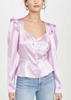 Divine Heritage Sweetheart Neck Puff Sleeve Blouse