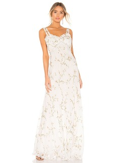 Divine Heritage Velvet Trim Maxi Dress