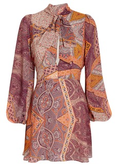 Divine Heritage Paisley Tie Neck Dress
