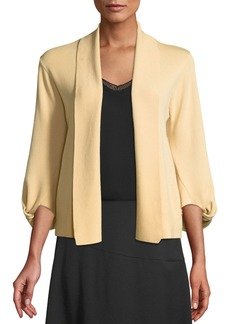 DKNY 3/4 Knotted Sleeve Open-Front Cardigan