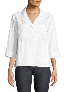 DKNY 3/4-Sleeve Button-Front Poplin Blouse