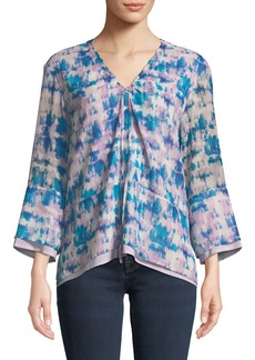 DKNY 3/4-Sleeve Tie-Dye Tiered Blouse