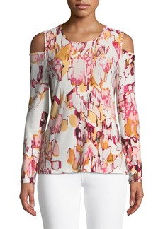 DKNY Abstract-Print Cold-Shoulder Tee