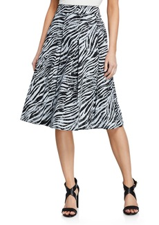DKNY Animal Print Printed Fit-and-Flare Skirt
