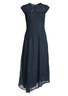 DKNY Asymmetric Hem Lace Midi Dress