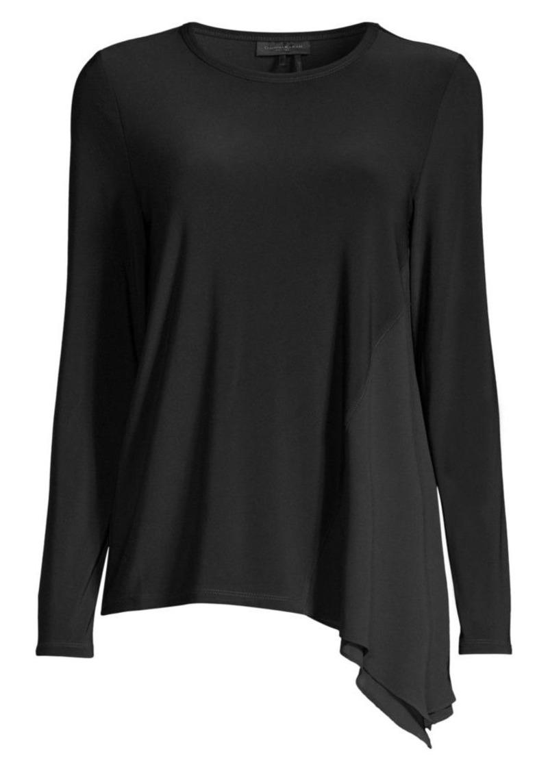 DKNY Asymmetric Mixed-Media Tunic