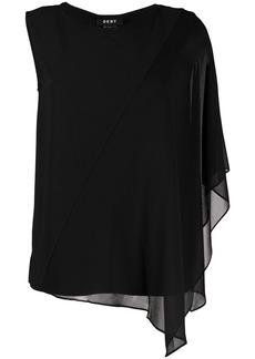 DKNY asymmetric overlay top