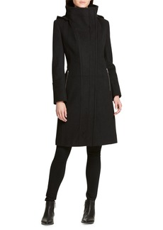 DKNY Asymmetric Zip-Up Stand-Collar Coat with Removable Hood