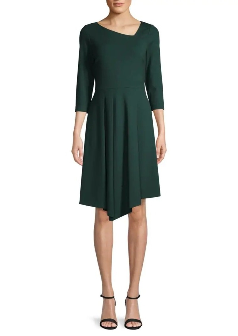 DKNY Asymmetrical Three-Quarter Sleeve Dress