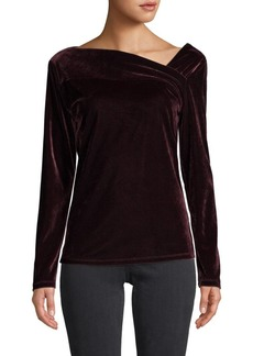 DKNY Asymmetrical Velvet Top