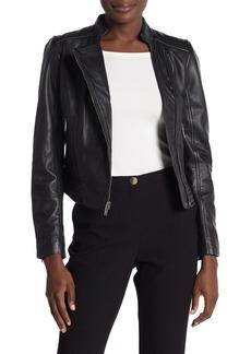 DKNY Asymmetrical Zip Leather Moto Jacket